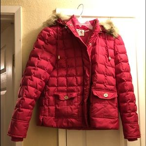 Pink juicy couture puff jacket with faux fur hood